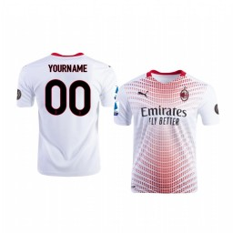 Youth 2020-21 AC Milan Custom White Away Authentic Jersey