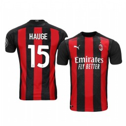 Women's 2020-21 AC Milan #15 Jens Petter Hauge Red Home Authentic Jersey