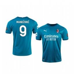Youth 2020-21 AC Milan #9 Mario Mandzukic Blue Third Authentic Jersey