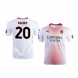Youth 2020-21 AC Milan #20 Pierre Kalulu White Away Authentic Jersey