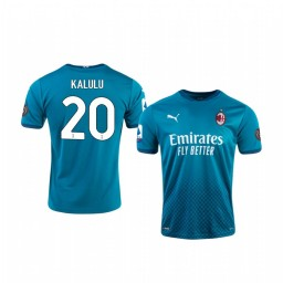 Youth 2020-21 AC Milan #20 Pierre Kalulu Blue Third Authentic Jersey