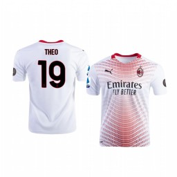 2020-21 AC Milan #19 Theo Hernandez White Away Authentic Jersey