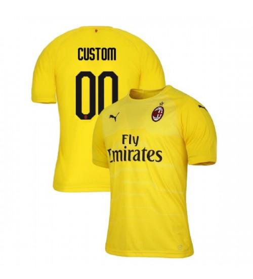 AC Milan 2018-19 Authentic Goalkeeper #00 Custom Yellow Jersey