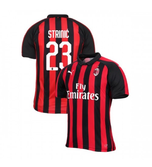 AC Milan 2018-19 Replica Home #23 Ivan Strinic Red Black Jersey