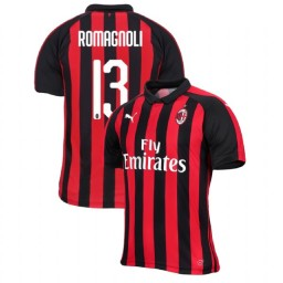 AC Milan 2018-19 Authentic Home #13 Alessio Romagnoli Red Black Jersey
