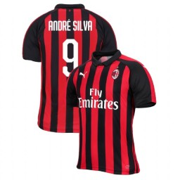 AC Milan 2018-19 Authentic Home #9 Andre Silva Red Black Jersey
