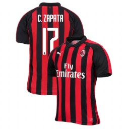 AC Milan 2018-19 Authentic Home #17 Cristian Zapata Red Black Jersey