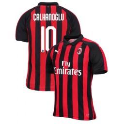AC Milan 2018-19 Authentic Home #10 Hakan Calhanoglu Red Black Jersey