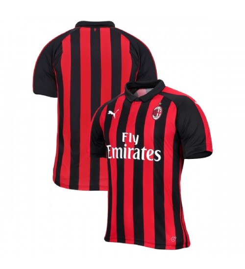 AC Milan 2018-19 Authentic Home Red Black Jersey