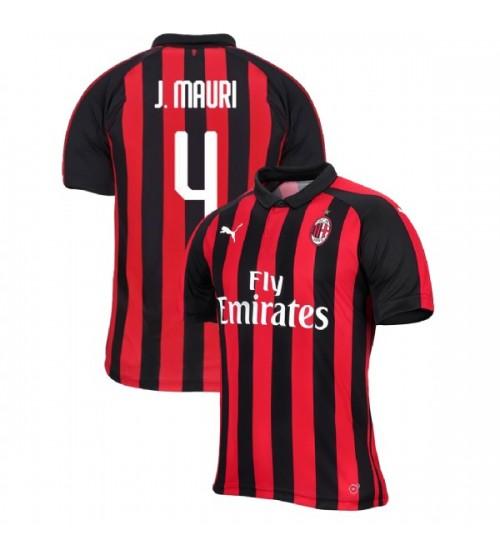 AC Milan 2018-19 Authentic Home #4 Jose Mauri Red Black Jersey