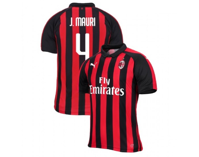 Jose Mauri AC Milan 18-19 Red Black Men's Home Authentic Jersey
