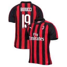 AC Milan 2018-19 Authentic Home #19 Leonardo Bonucci Red Black Jersey