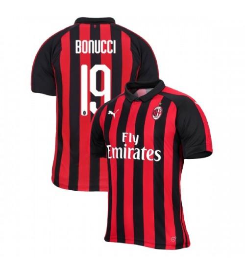 AC Milan 2018-19 Replica Home #19 Leonardo Bonucci Red Black Jersey