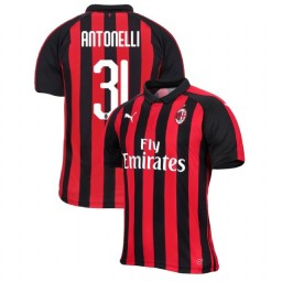 AC Milan 2018-19 Authentic Home #31 Luca Antonelli Red Black Jersey