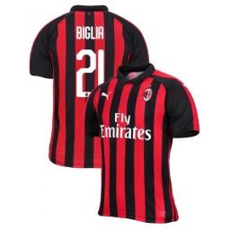 AC Milan 2018-19 Authentic Home #21 Lucas Biglia Red Black Jersey