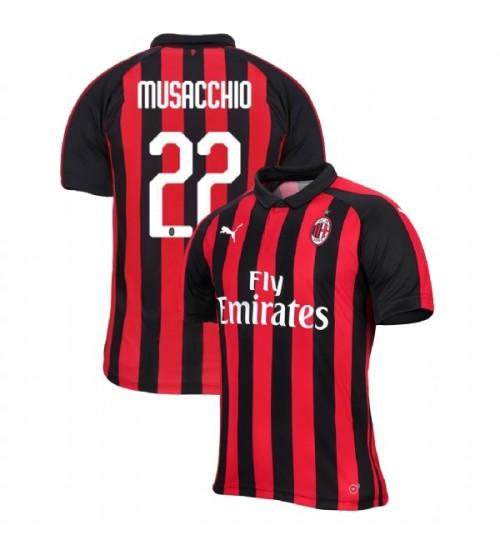 AC Milan 2018-19 Replica Home #22 Mateo Musacchio Red Black Jersey