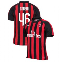 AC Milan 2018-19 Authentic Home #46 Matteo Gabbia Red Black Jersey