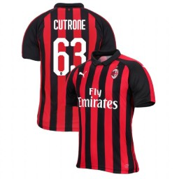 AC Milan 2018-19 Authentic Home #63 Patrick Cutrone Red Black Jersey