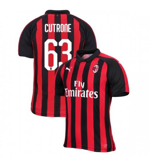 Patrick Cutrone AC Milan 18-19 Red Black Men's Home Replica Jersey