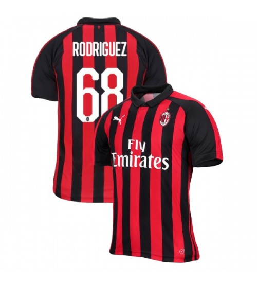 AC Milan 2018-19 Authentic Home #68 Ricardo Rodriguez Red Black Jersey