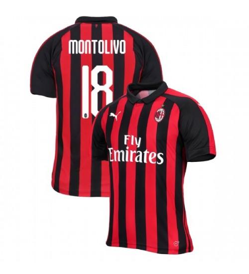 Riccardo Montolivo AC Milan 18-19 Red Black Men's Home Authentic ...