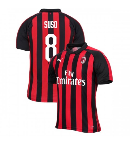 AC Milan 2018-19 Authentic Home #8 Suso Red Black Jersey