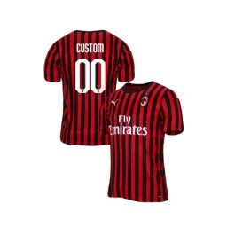 AC Milan 2019-20 Authentic Home #00 Custom Red Black Jersey