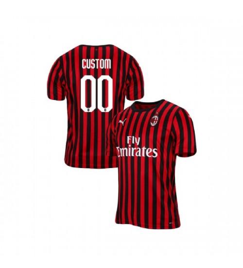AC Milan 2019-20 Replica Home #00 Custom Red Black Jersey