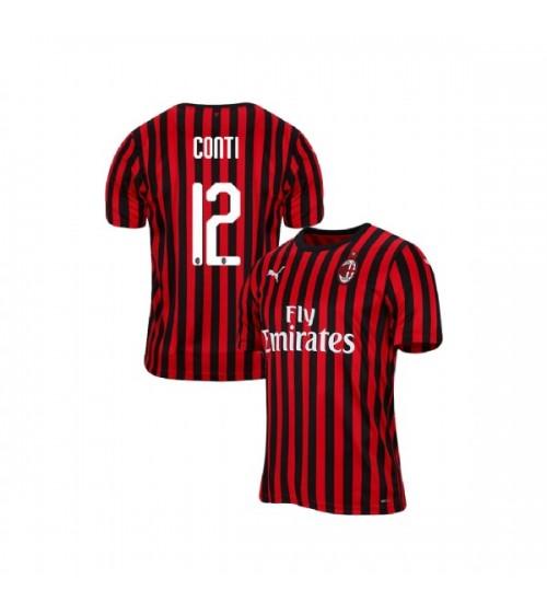AC Milan 2019-20 Replica Home #12 Andrea Conti Red Black Jersey