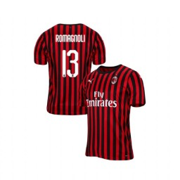 AC Milan 2019-20 Authentic Home #13 Alessio Romagnoli Red Black Jersey