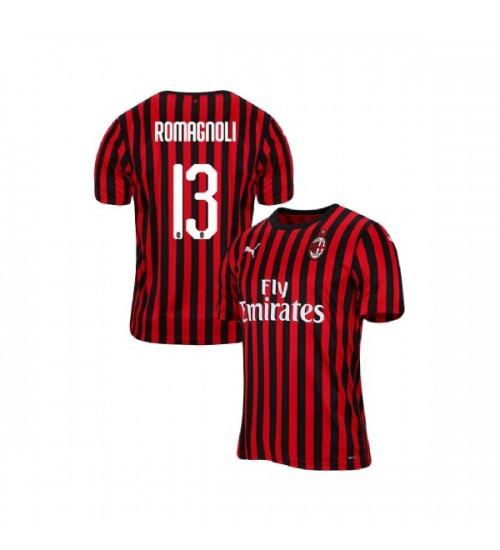 Men's Alessio Romagnoli AC Milan 19-20 Red Black Home Replica Jersey