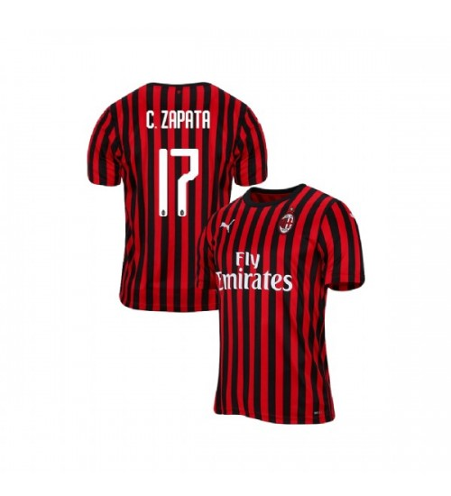 AC Milan 2019-20 Authentic Home #17 Cristian Zapata Red Black Jersey