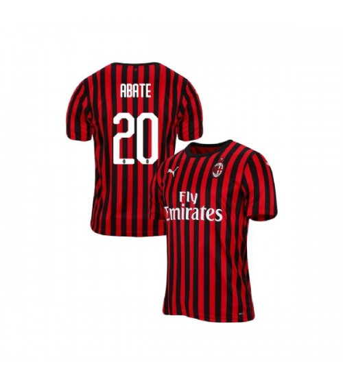 AC Milan 2019-20 Authentic Home #20 Ignazio Abate Red Black Jersey