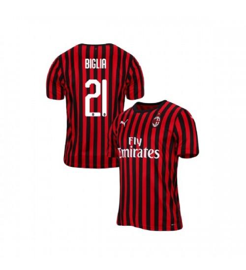 AC Milan 2019-20 Authentic Home #21 Lucas Biglia Red Black Jersey
