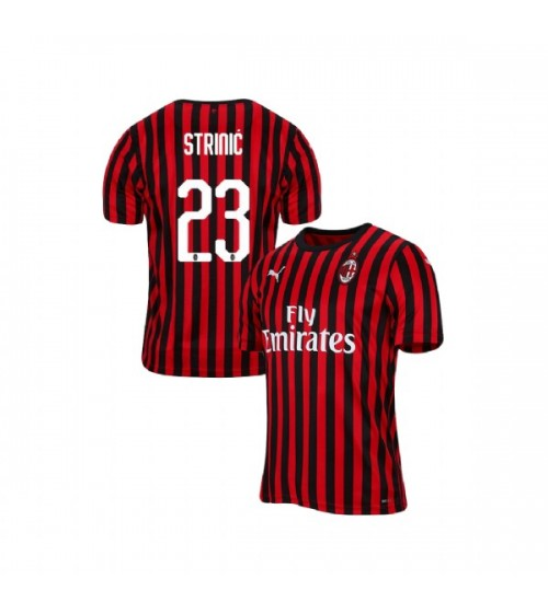 Men's Ivan Strinic AC Milan 19-20 Red Black Home Authentic Jersey