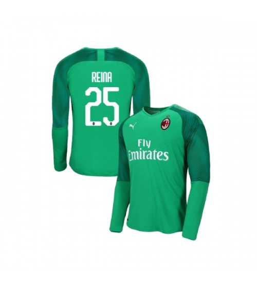 AC Milan 2019-20 Replica Goalkeeper Home #25 Pepe Reina Green Jersey