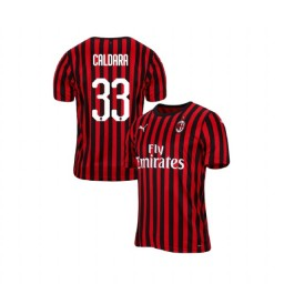 AC Milan 2019-20 Authentic Home #33 Mattia Caldara Red Black Jersey