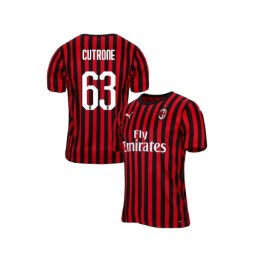 AC Milan 2019-20 Authentic Home #63 Patrick Cutrone Red Black Jersey