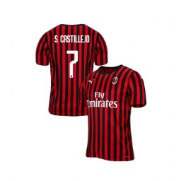 AC Milan 2019-20 Authentic Home #7 Samu Castillejo Red Black Jersey