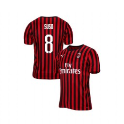 AC Milan 2019-20 Authentic Home #8 Suso Red Black Jersey