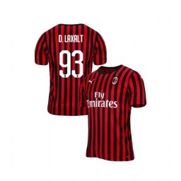 AC Milan 2019-20 Authentic Home #93 Diego Laxalt Red Black Jersey