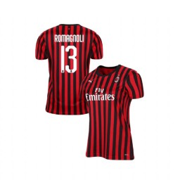 Women's AC Milan 2019-20 Authentic Home #13 Alessio Romagnoli Red Black Jersey