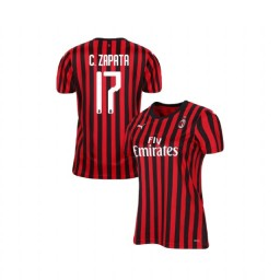 Women's AC Milan 2019-20 Authentic Home #17 Cristian Zapata Red Black Jersey