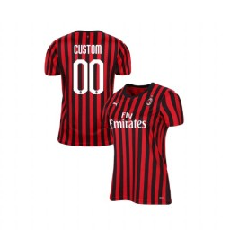 Women's AC Milan 2019-20 Authentic Home #00 Custom Red Black Jersey