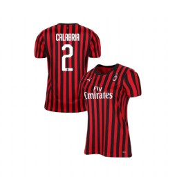 Women's AC Milan 2019-20 Authentic Home #2 Davide Calabria Red Black Jersey