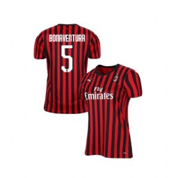 Women's AC Milan 2019-20 Authentic Home #5 Giacomo Bonaventura Red Black Jersey