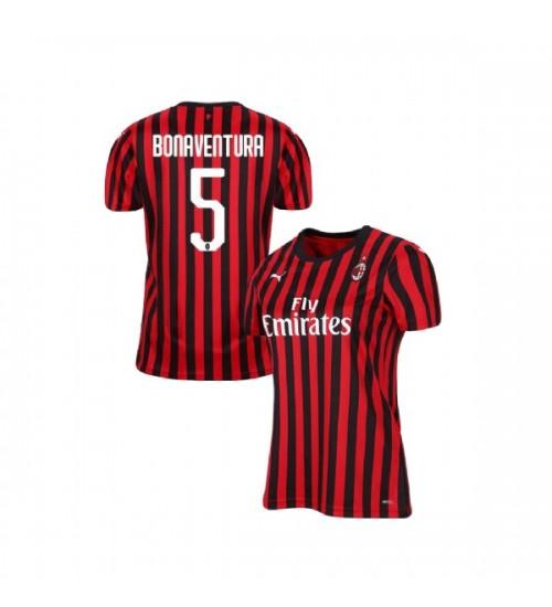 Giacomo Bonaventura AC Milan 19-20 Red Black Women's Home ...