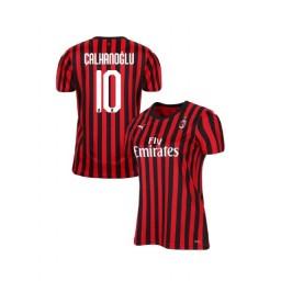 Women's AC Milan 2019-20 Authentic Home #10 Hakan Calhanoglu Red Black Jersey