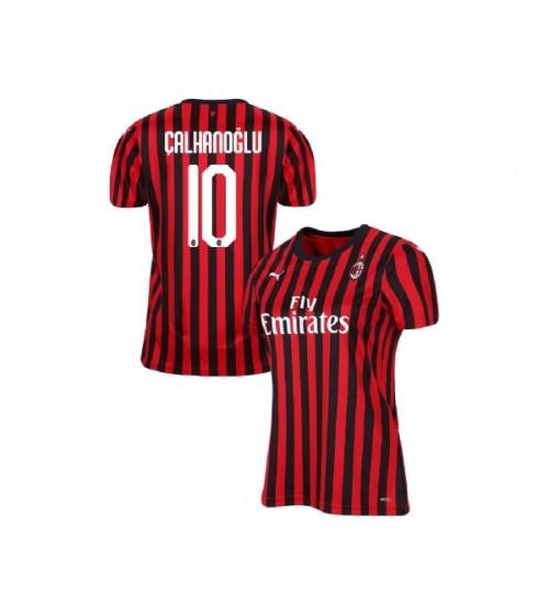 Women's AC Milan 2019-20 Replica Home #10 Hakan Calhanoglu Red Black Jersey