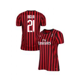 Women's AC Milan 2019-20 Authentic Home #21 Lucas Biglia Red Black Jersey